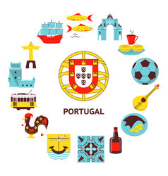 Portugal round concept with icons in flat style vector