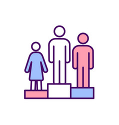 Race and gender inequality rgb color icon vector