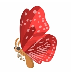 Red butterfly icon cartoon style vector