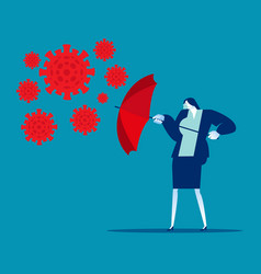 Red umbrella protecting person immune novel virus vector
