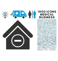 Remove Building Icon with 1000 Medical Business vector