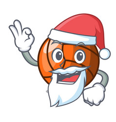 Santa volleyball mascot cartoon style vector