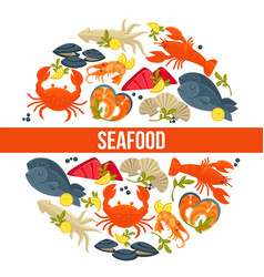 Seafood poster of fresh fish catch for sea food vector