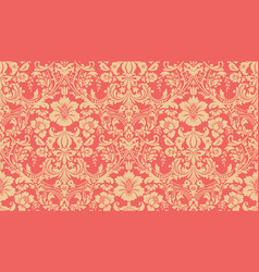 Seamless damask pattern red and yellow image vector