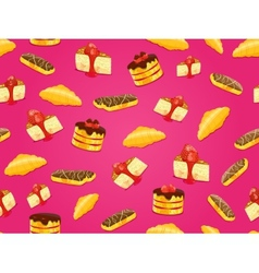 seamless pattern with cake croissant and eclair vector image