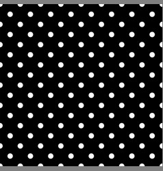 seamless white polka dot pattern on black vector image
