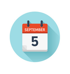 September 5 flat daily calendar icon date vector