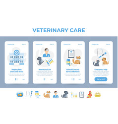 set animal and care service landing page vector image