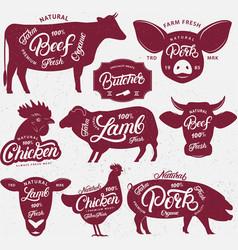set butchery logo label emblem poster vector image