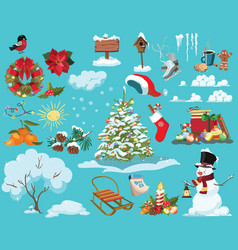 set christmas elements a collection cartoon vector image