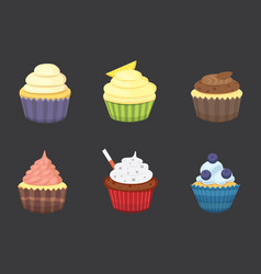 Set cute cupcakes and muffins colorful vector