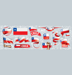 set national flag chile in vector image