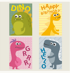 set of 4 cards templates with dinosaurs for vector image