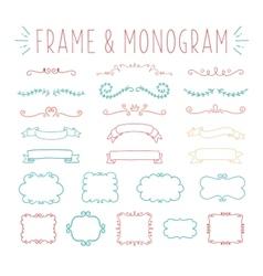 set simple and graceful monogram design vector image