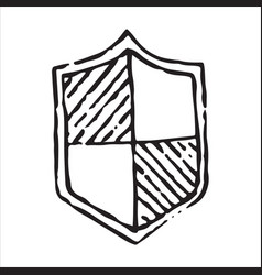 shield icon in doodle sketch lines vector image