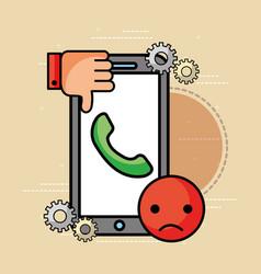 Smartphone helpline bad unhappy customer service vector