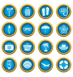 Summer rest icons blue circle set vector