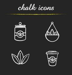 Tea chalk icons set vector