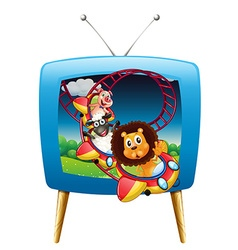 Television screen with animals on the vector image