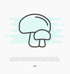 Thin line icon of mushrooms champignon vector