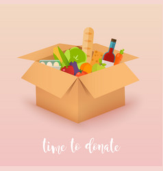 time to donate food donation boxes full of food vector image