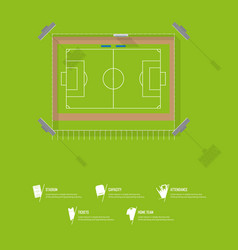 top view of football stadium or soccer arena vector image