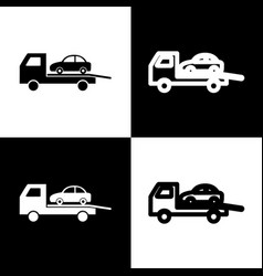 Tow car evacuation sign black and white vector