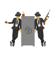 two gangsters in suits standing near the safe vector image
