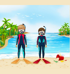 Two scuba divers in wetsuit standing on beach vector