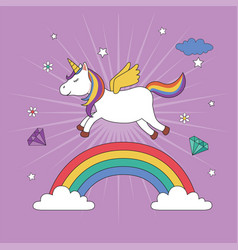 unicorn flying over rainbow vector image