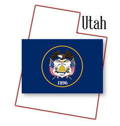 Utah state map and flag vector