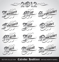 vintage calendar month titles vector image