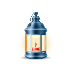 Vintage old lantern lamp with candle vector