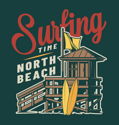vintage surf time colorful logo vector image