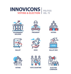 Voting and election - set modern thin line vector