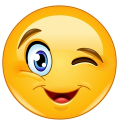 Winking face emoticon vector