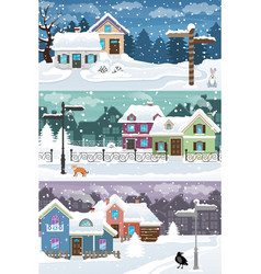 winter town landscape vector image