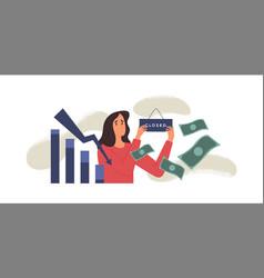 woman closing business shop for economic crisis vector image