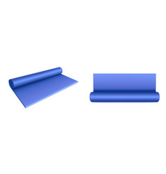 Yoga mat top and side view blue rolled mattress vector