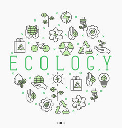 ecology concept in circle with thin line icons vector image vector image