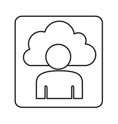 figure cloud person technology icon vector image