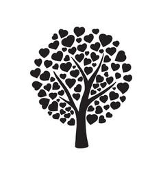 Love tree with hearts vector