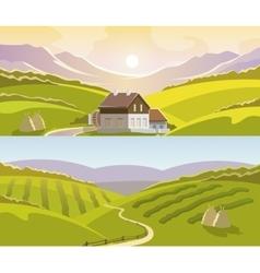 Mountain Landscape Banner Set vector image vector image