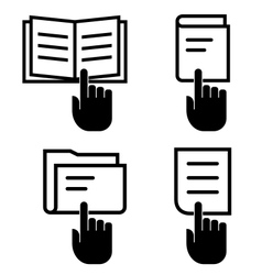 Open document icon set vector image vector image