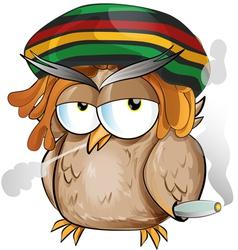 rasta owl cartoon vector image vector image