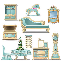 shabby chic interior furniture and christmas tree vector image