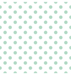 Tile pattern mint polka dots white background vector image vector image