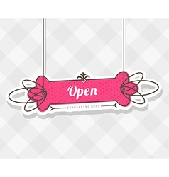 Vintage background with hanging sign and Open word vector image vector image