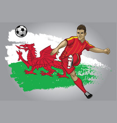 wales soccer player with flag as a background vector image