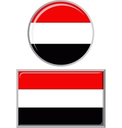 Yemeni round and square icon flag vector image